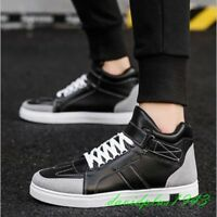 Hot Fashion Mens PU Leather Round Toe Lace Up Athletic Sneakers Sports Shoes New