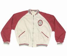 Baseball National Pastime Vasity Club Red Blue Beige Mens Bomber Jacket size XL