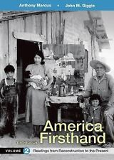 AMERICA FIRSTHAND - MARCUS, ANTHONY/ GIGGIE, JOHN M./ BURNER, DAVID - NEW PAPERB