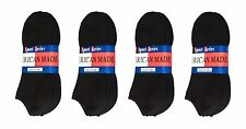 $averPak American Made Cotton Blend Black No Show Socks 12 Pair (Size 10-13)