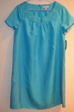 NWT Lilly Pulitzer Blue Embroidered 100% Silk Kathleen Dress Size M Retail $248