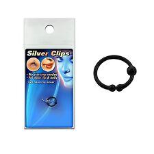 925 Silber Fake Test Piercing Schwarz Ring Nase Klemmring Lippen Intim Ø 8mm