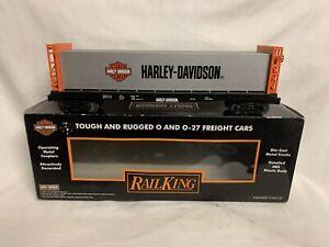 ✅MTH RAILKING HARLEY DAVIDSON MOTORCYCLE BULKHEAD LUMBER FLAT CAR 30-76408!