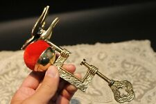 Antique Style Ornate Brass Sewing Clamp Pin Cushion w Bird Clip