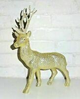 Weihnachtsdeko Rentier Hirsch Figur Tierfigur Stehend Weihnachten gold Glitzer