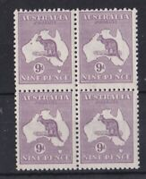 K1157) Australia 1932 9d Violet Kangaroo, C of A wmk. Mint block of 4.