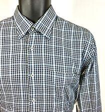 Peter Millar Mens Size M Medium 100% Cotton Plaid/Checks Blue Button Front Shirt