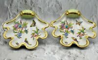 Pair of Vintage 1941 HEREND Hungary Porcelain Queen Victoria Shell Dishes, EUC