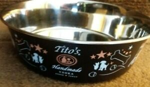 """Tito's Vodka """"For Dog People"""" 9 inch Stainless Steel Dog Water Bowl"""
