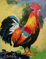 Lena Tants Original Acrylic Painting on Canvas of a colorful Rooster Signed/COA