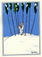 1930s French Pochoir Max Ninon Print Art Deco Winterscape Harlequin w/ Music Box