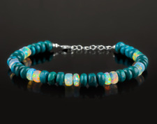 Blue Chrysocolla and Opal Gemstone Beads 925 Fine Silver Bracelet healing crysta