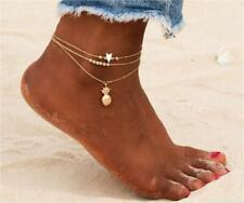3pcs Set Womens Ankle Bracelet Silver Gold Plated Anklet Foot Chain Beach Beads