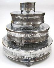 METAL CAKE STAND SET/4 ~ WEDDING CAKE STAND~ ALUMINUM ROUND CAKE STAND~ HOME DCR