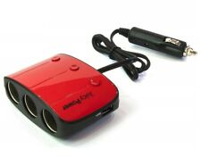 12V 3 Way Car Cigarette Lighter Socket Splitter & Dual USB Charger Power Adapter