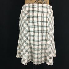 Ann Taylor LOFT 2 Sm S Ivory Brown Teal Plaid Tweed Fit Flare Wool Bl Lined Work