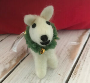 Pottery Barn Felt Dog With Wreath Christmas Ornament New with tags Free Shipping