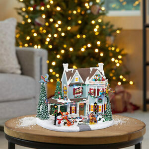 11.7 Inches (29.8cm) Animated Christmas House Tabletop Ornament LED Lights & ...