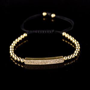Luxury Micro Pave Men Girls Cz Bead Bracelets Gold Braided Charm Copper Bracelet