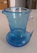 Vintage Blenko Crackle Hand Blown Art Glass Miniature Blue, Clear handle Pitcher