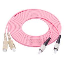 90M FC UPC to SC UPC Duplex OM4 Multimode 3.0mm Fiber Optic Patch Cord Cable