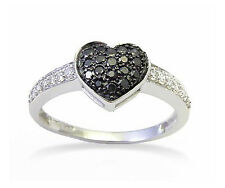 Black & White Diamond Ring 10K White Gold Heart Cluster Ring .34ct Polished Band