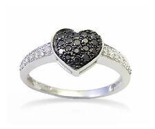 10K White Gold Black & white Diamond Ring Heart Cluster ring .34ct Polished Band