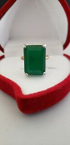 Huge 10.59 Carat Natural Emerald, 14K Yellow, White Gold All Occasion SZ 8 1/4th