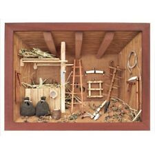 German 3D Wooden Shadow Box Picture Diorama Barn Shack Farm Shed with Stall