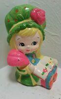 Vintage 70's 80's Chalkware Little Girl  Dress Bonnet holding feather