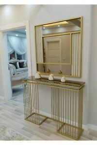 Decorative Gold Console Table Set, Metal Entryway Table with Wall Mirror
