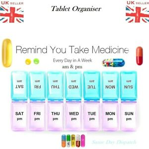 7 Day AM & PM Medicine Tablet Pill Box Weekly Organiser Dispenser Storage Case
