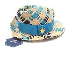 Jonathan Adler Blue Hand Woven Fedora Women's Hat $98 New