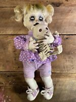 Scary Creepy OOAK Doll - Baby Doll Holding Skeleton Bear, Purple Clothes - 16""