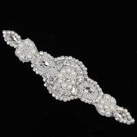 1 Stück nähen Braut Handwerk Silber Blumen Kleidung Kristall Strass Applikation
