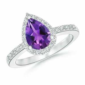 Amethyst And Zirconia Band In 14k White Gold Finished Engagement Band For Her !!