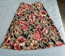 80s 90s Portraits Northern Isle 12 A Line Floral Hibiscus Peony Skirt Vintage