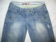 """River Island Slouch """"2 Look Amazing"""" Distressed Blue Jeans Size 8R W29 L31"""