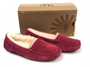 UGG Australia Women Scalloped Moc Moccasins Burgundy Wine Slippers Shoes 57322