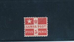 "SAMOA #23a ""FLAG DESIGN (1895)""; MH; PERF 11; SHOWN FR & BK; CV $70"
