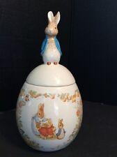 Beatrix Potter Peter Rabbit Ceramic Cookie Jar Canister Easter Egg 1996