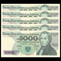 POLAND 5000 Zlotych 1982 Pick 150a UNC
