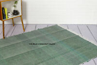 Green Colour Cotton Rag Rug 4 x 6FT Hand Made Chindi Shabby Scandi Chic Indian