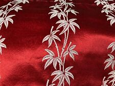 More details for curtains vintage 1940-60's deep red rayon ivory tree/fabric shiny 45