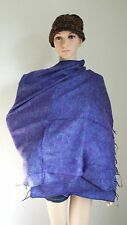 YS1 YAK SHAWL NEPAL : 100% Wool Handmade Yak Wool Blend Scarf Wrap Purple 71x35""