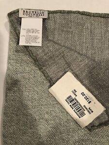 NWT $120 BRUNELLO CUCINELLI Green/white weave Linen/cotton Pocket Square