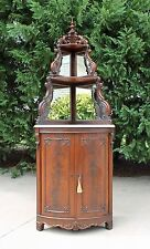 Victorian Feathered Mahogany Marble Top Corner Cabinet w Mirrored Shelves c1860