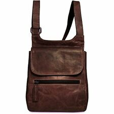 Jack Georges Voyager Collection Leather Slim Crossbody Bag in Brown