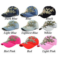 Crystal Flower Bling Rhinestone Hats Baseball Cap For Womens Jeans Wash Denim