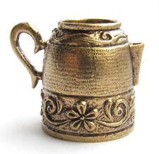 Thimble TEAPOT Kettle Flowers Solid Brass Metal Russian Souvenir Collection